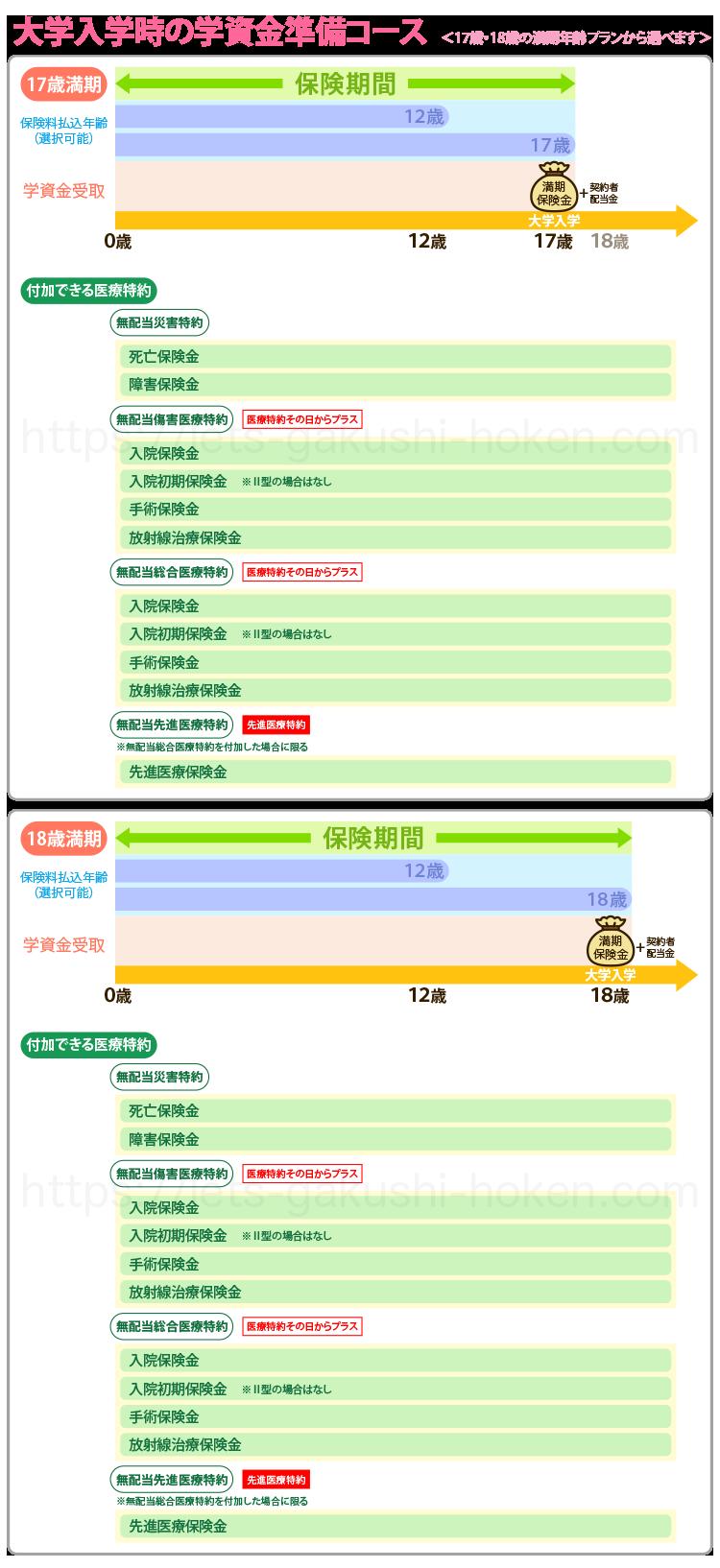 はじめのかんぽ「大学入学時」の学資金準備コース